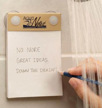 Un blocchetto impermeabile sotto la doccia per non sovraffollare la mente e catturare gli input